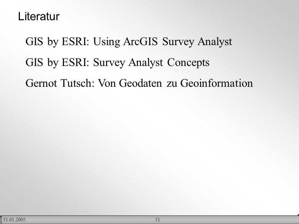 5131.01.2005 Literatur GIS by ESRI: Using ArcGIS Survey Analyst GIS by ESRI: Survey Analyst Concepts Gernot Tutsch: Von Geodaten zu Geoinformation