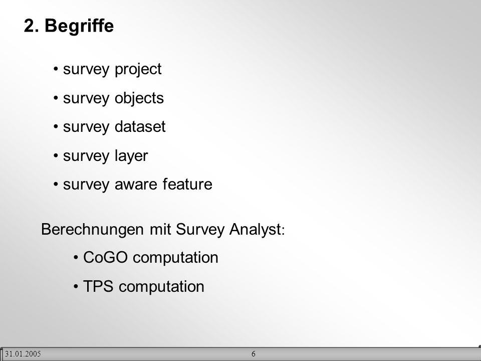 631.01.2005 2. Begriffe survey project survey objects survey dataset survey layer survey aware feature CoGO computation TPS computation Berechnungen m