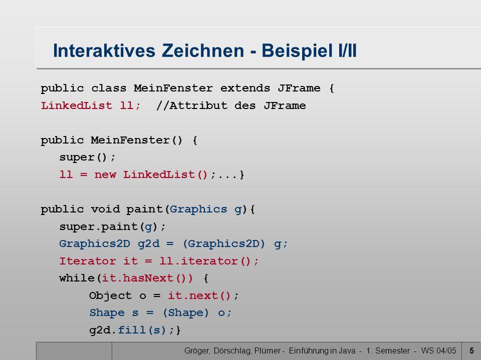 Gröger, Dörschlag, Plümer - Einführung in Java - 1. Semester - WS 04/055 Interaktives Zeichnen - Beispiel I/II public class MeinFenster extends JFrame