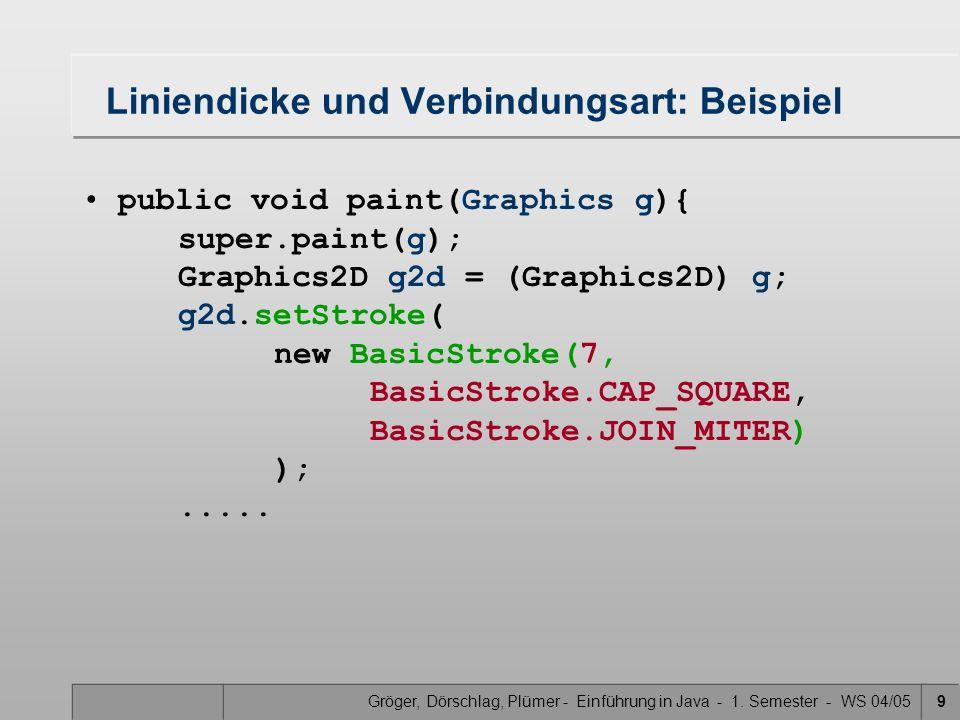 Gröger, Dörschlag, Plümer - Einführung in Java - 1. Semester - WS 04/059 Liniendicke und Verbindungsart: Beispiel public void paint(Graphics g){ super