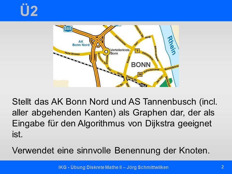 IKG - Übung Diskrete Mathe II – Jörg Schmittwilken 3 Ü2 Hohe Straße Bornheimer Straße Verteilerkreis Bonn nach/von Köln nach/von Siegburg nach/von Koblenz