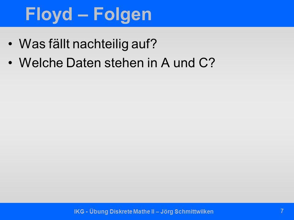 IKG - Übung Diskrete Mathe II – Jörg Schmittwilken 8 Floyd – Wegmitführung private floyd (float A [n,n], float C [n,n], int W[n,n] ) { int i, j, k; for ( j = 1; j <= n; j++ ) { for ( k = 1; k <=n; k++ ) { //A: Wege A[j,k] = C[j,k]; W[j,k] = ; //C: Kanten } } for( i = 1; i <= n; i++ ) { for( j = 1; j <= n; j++ ) { for( k = 1; k <= n; k++ ) { if ( A[j,i] + A[i,k] < A[j,k] ) A[j,k] = A[j,i] + A[i,k]; W[j,k] = i; }