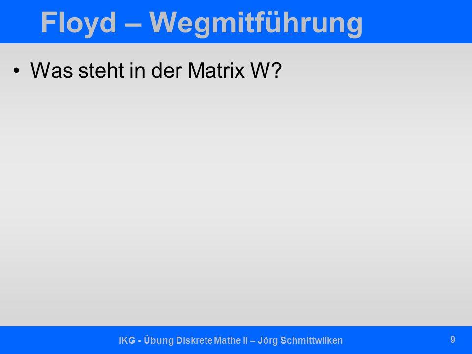 IKG - Übung Diskrete Mathe II – Jörg Schmittwilken 10 Übungsaufgabe 1.Notiert die dem obigen Graphen entsprechende Adjazenzmatrix für die Kantengewichte (Kosten).