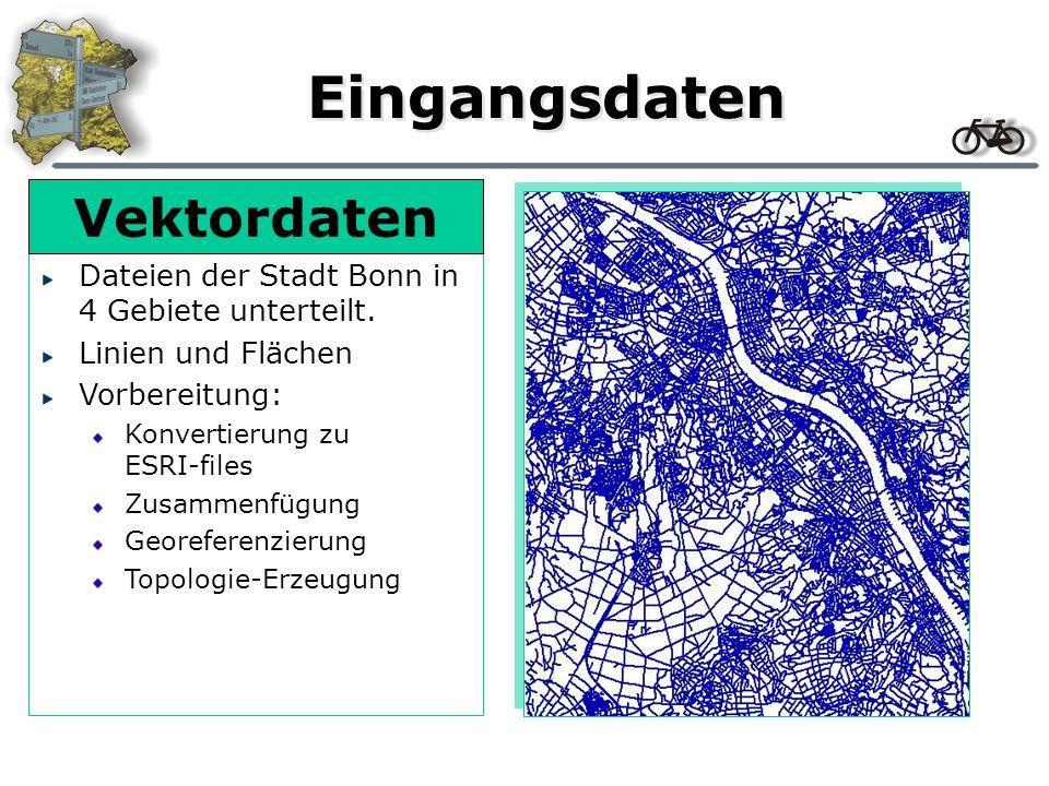 Eingangsdaten Dateien der Stadt Bonn in 4 Gebiete unterteilt. Linien und Flächen Vorbereitung: Konvertierung zu ESRI-files Zusammenfügung Georeferenzi