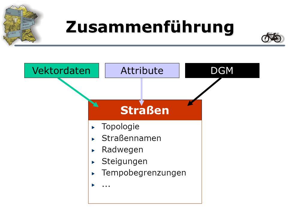Straßen Zusammenführung VektordatenDGMAttribute Topologie Straßennamen Radwegen Steigungen Tempobegrenzungen...