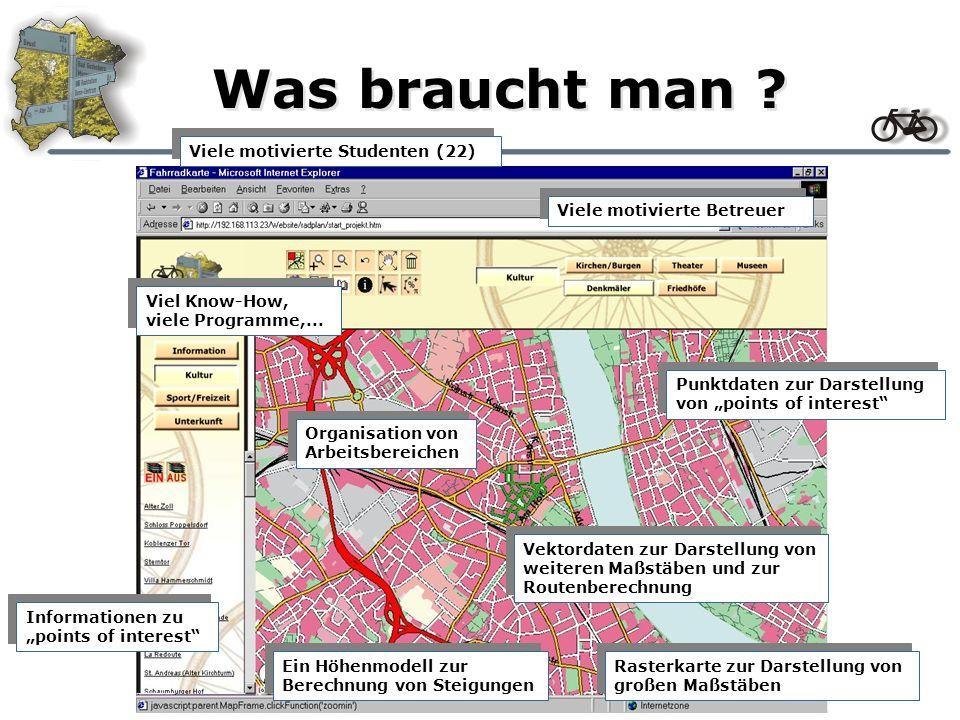 Projektübersicht Zielsetzung: Aufbau einer Fahrradkarte von Bonn Erstellung einer Route (kürzester Weg) mit individuellen Parametern Erstellung eines Höhenprofils Ausgabe von GPS-Koordinaten Durchführung: Seminarphase: Vorträge von relevanten und verwandten Themen, die zur Durchführung beitragen Projektphase: Durchführung und Dokumentation des Projekts