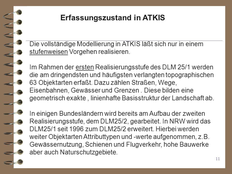 11 Erfassungszustand in ATKIS Die vollständige Modellierung in ATKIS läßt sich nur in einem stufenweisen Vorgehen realisieren.