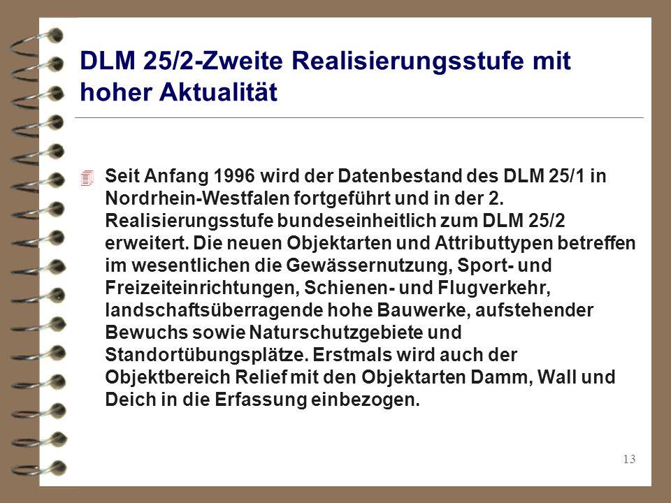 13 DLM 25/2-Zweite Realisierungsstufe mit hoher Aktualität 4 Seit Anfang 1996 wird der Datenbestand des DLM 25/1 in Nordrhein-Westfalen fortgeführt und in der 2.