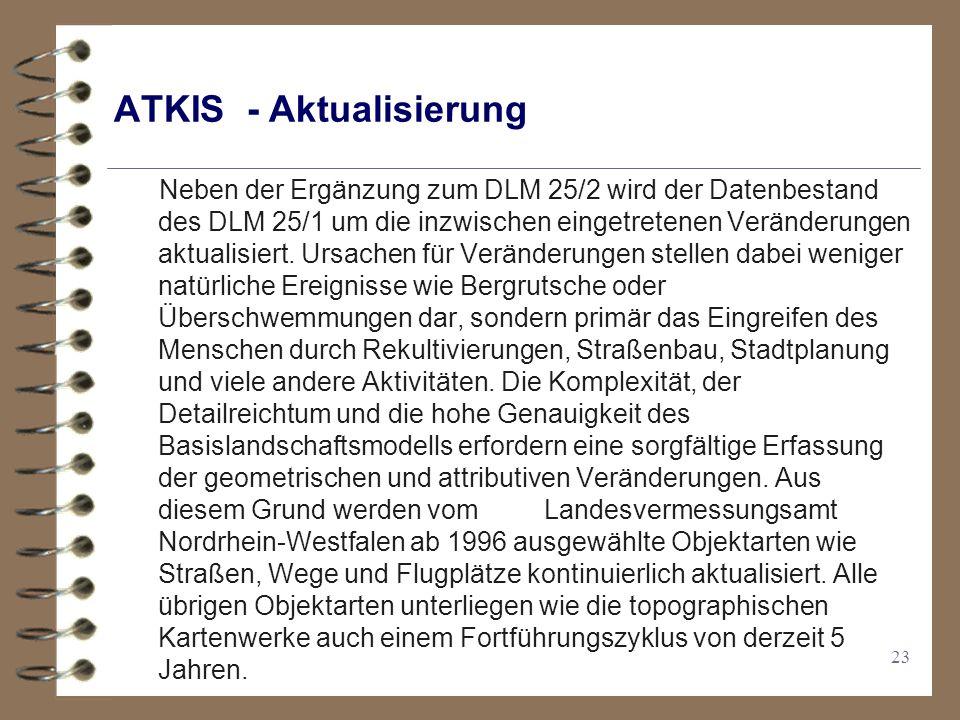23 ATKIS - Aktualisierung Neben der Ergänzung zum DLM 25/2 wird der Datenbestand des DLM 25/1 um die inzwischen eingetretenen Veränderungen aktualisiert.