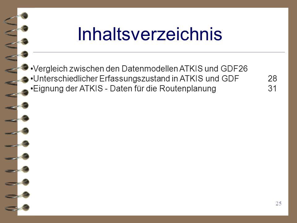 25 Inhaltsverzeichnis Vergleich zwischen den Datenmodellen ATKIS und GDF26 Unterschiedlicher Erfassungszustand in ATKIS und GDF28 Eignung der ATKIS - Daten für die Routenplanung31