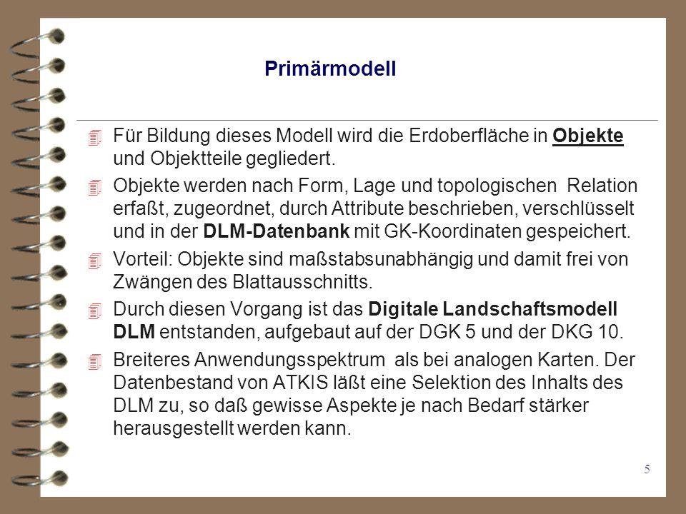 16 Der Informationsfluß in ATKIS Topographische Daten werden erfaßt, mit Hilfe des Objektartenkatalog als DLM in der DLM-Datenbank gespeichert und bei Bedarf abgerufen und in Verbindung mit dem Signaturenkatalog bearbeitet.