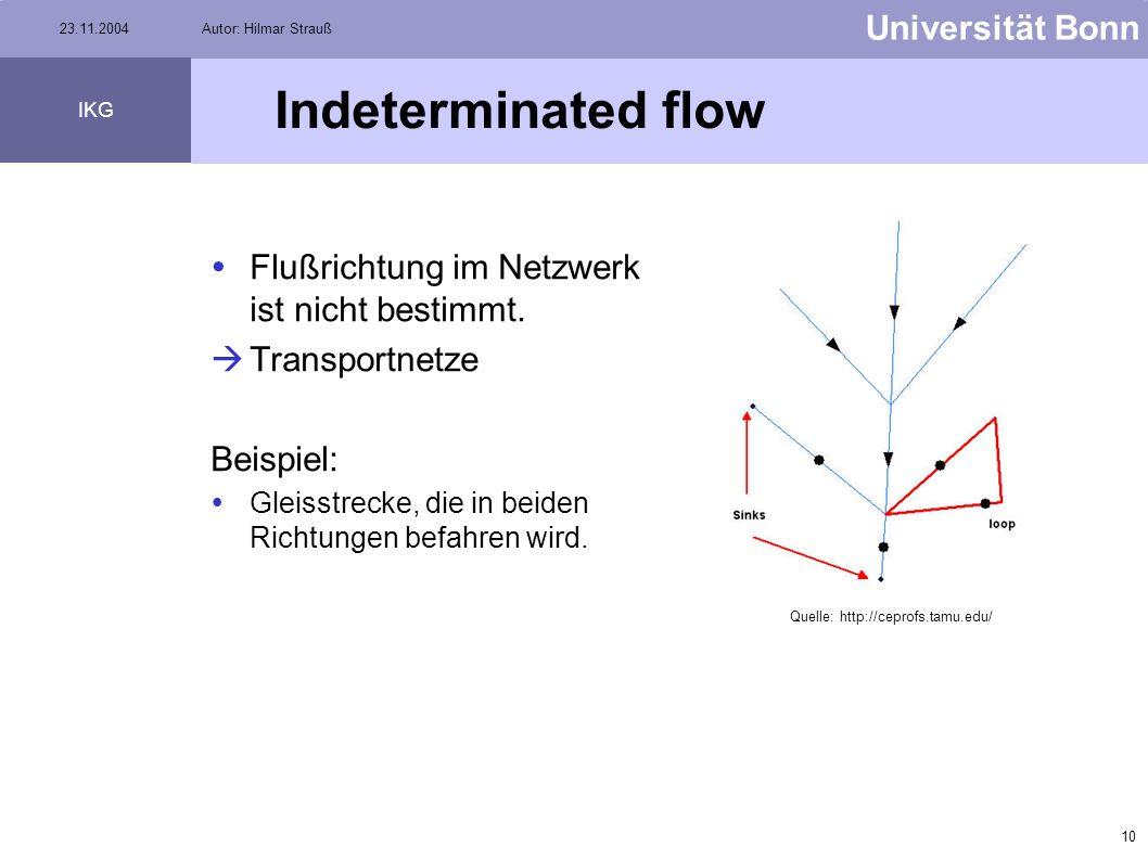 9 Universität Bonn IKG 23.11.2004Autor: Hilmar Strauß Uninitialized flow Uninitialized flow liegt vor, wenn Kante vom übrigen Netzwerk isoliert ist. K