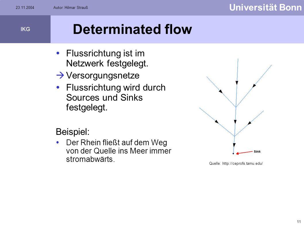 10 Universität Bonn IKG 23.11.2004Autor: Hilmar Strauß Indeterminated flow Flußrichtung im Netzwerk ist nicht bestimmt. Transportnetze Beispiel: Gleis