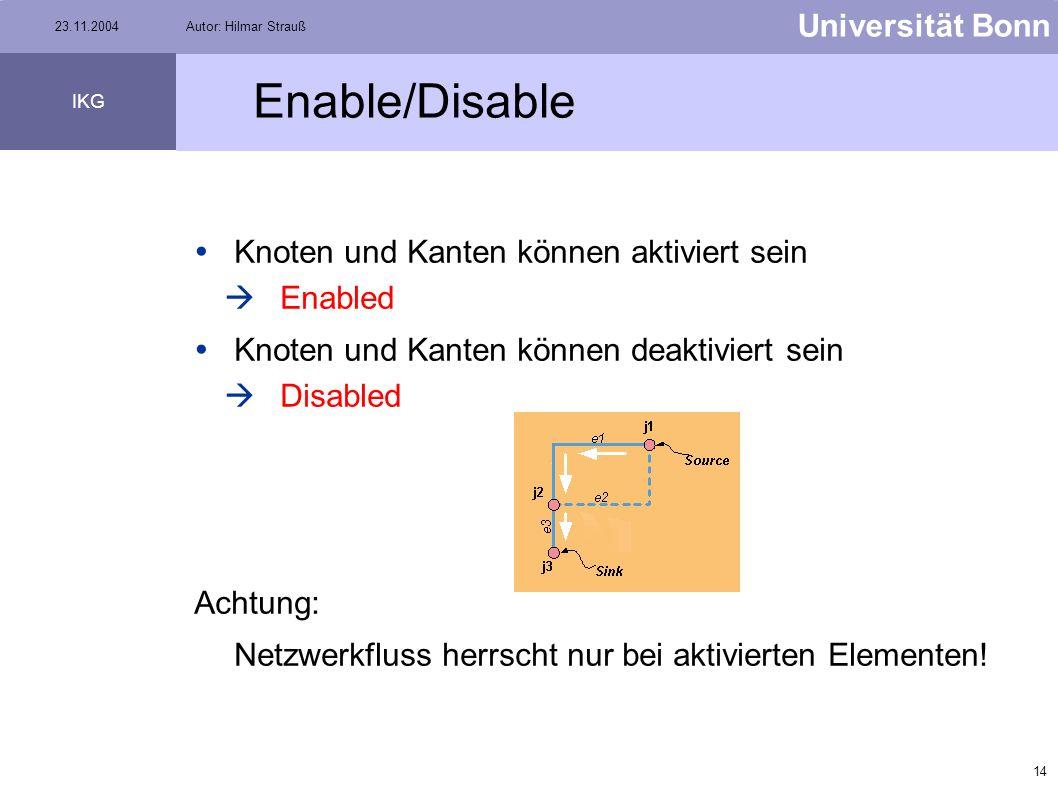 13 Universität Bonn IKG 23.11.2004Autor: Hilmar Strauß Setzen von Sources & Sinks Rechter Mausklick auf den Junction, der als Source oder Sink bestimm