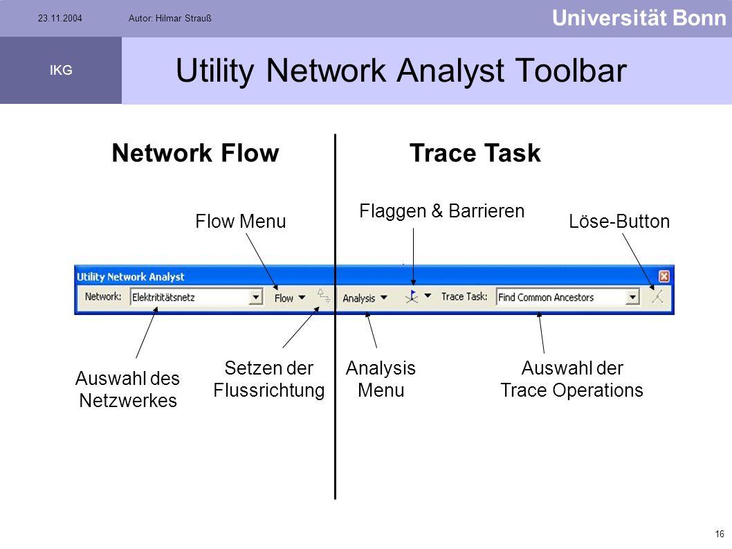 15 Universität Bonn IKG 23.11.2004Autor: Hilmar Strauß Utility Network Analyst Toolbar In der Menü-Leiste auf View klicken Toolbars auswählen Utility