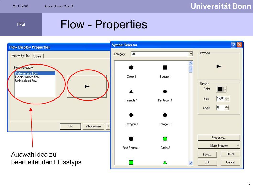 17 Universität Bonn IKG 23.11.2004Autor: Hilmar Strauß Flow menu Hier kann man einstellen, für welche Kanten die Flussrichtung angezeigt werden soll Z