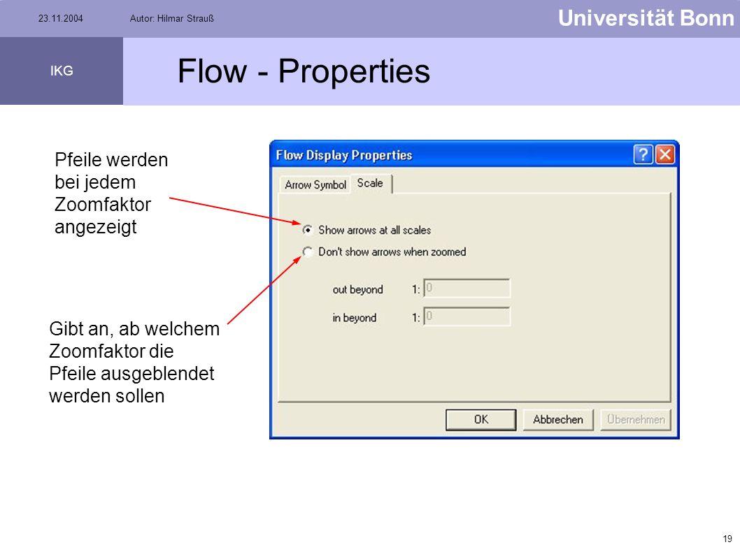 18 Universität Bonn IKG 23.11.2004Autor: Hilmar Strauß Flow - Properties Auswahl des zu bearbeitenden Flusstyps