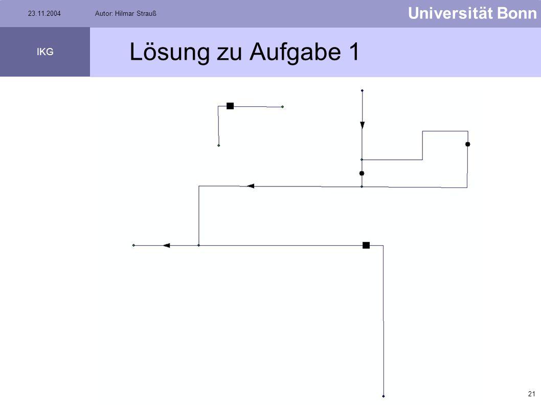 20 Universität Bonn IKG 23.11.2004Autor: Hilmar Strauß Aufgabe 1 Kopiert den Datensatz V:\Strauss\Aufgabe1\Elektrizitätsnetz in Euer Verzeichnis, ansc