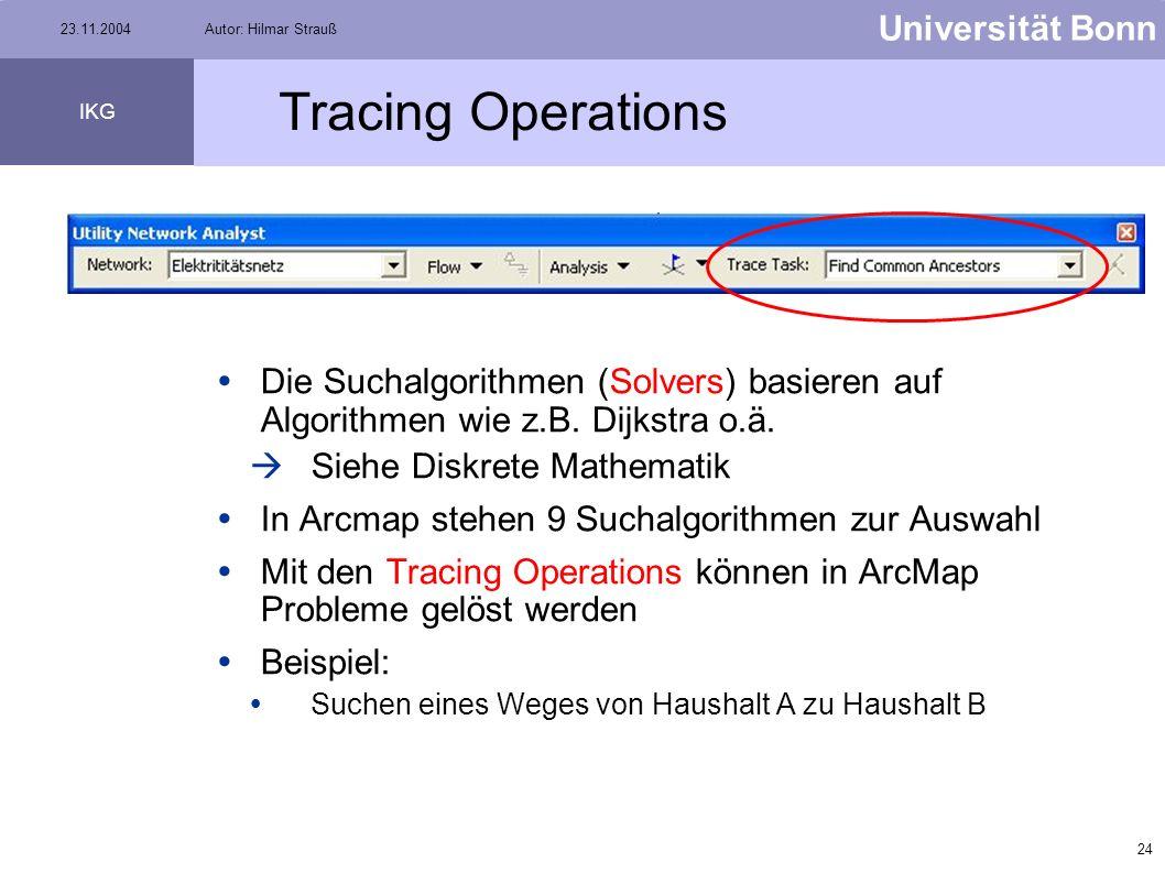 23 Universität Bonn IKG 23.11.2004Autor: Hilmar Strauß Einfügen von Flags/Barriers Flaggen auf Knoten Barriere auf Knoten Flaggen auf Kanten Barriere