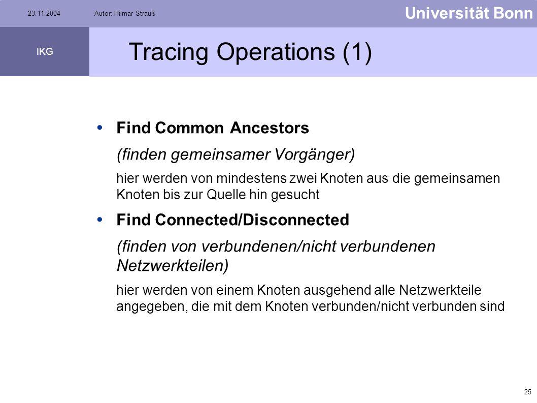 24 Universität Bonn IKG 23.11.2004Autor: Hilmar Strauß Tracing Operations Die Suchalgorithmen (Solvers) basieren auf Algorithmen wie z.B. Dijkstra o.ä