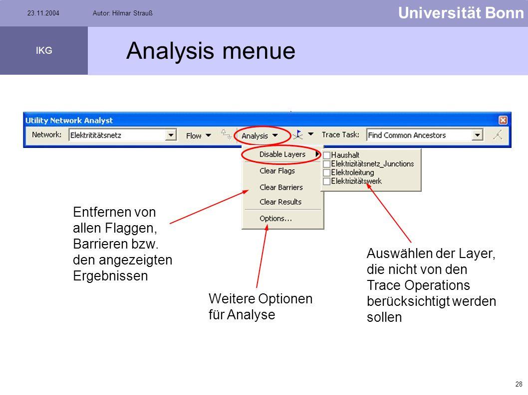 27 Universität Bonn IKG 23.11.2004Autor: Hilmar Strauß Tracing Operations (3) Find Path (Wegsuche) markiert Pfad von Flagge A zu Flagge B Find Path Up