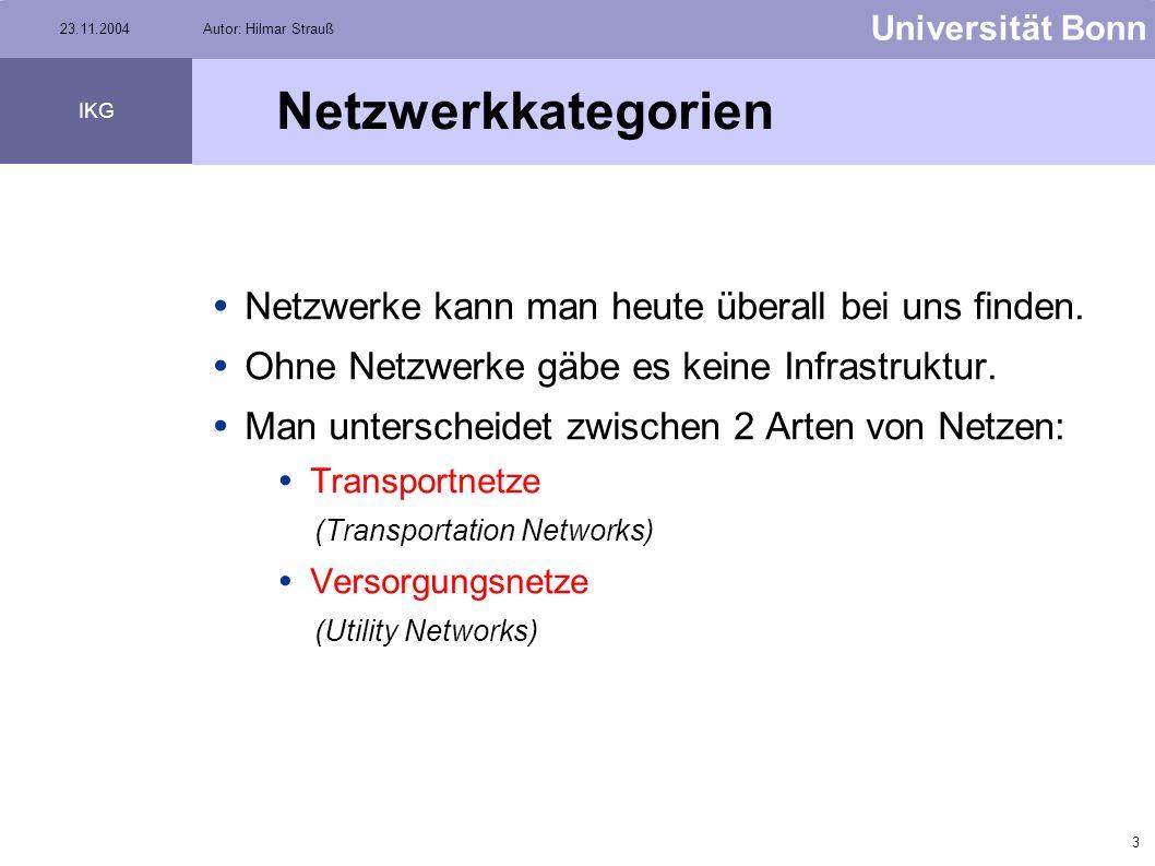 2 Universität Bonn IKG 23.11.2004Autor: Hilmar Strauß Übersicht Netzwerkarten Flussrichtungen Sources & Sinks Utility Network Analyst Toolbar Aufgabe