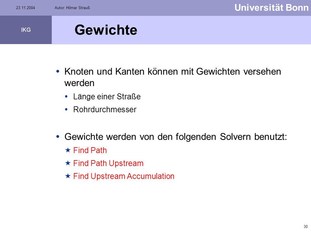 29 Universität Bonn IKG 23.11.2004Autor: Hilmar Strauß Analysis menue Options Bei diesem Menüpunkt kann ausgewählt werden, welche Elemente in die Such