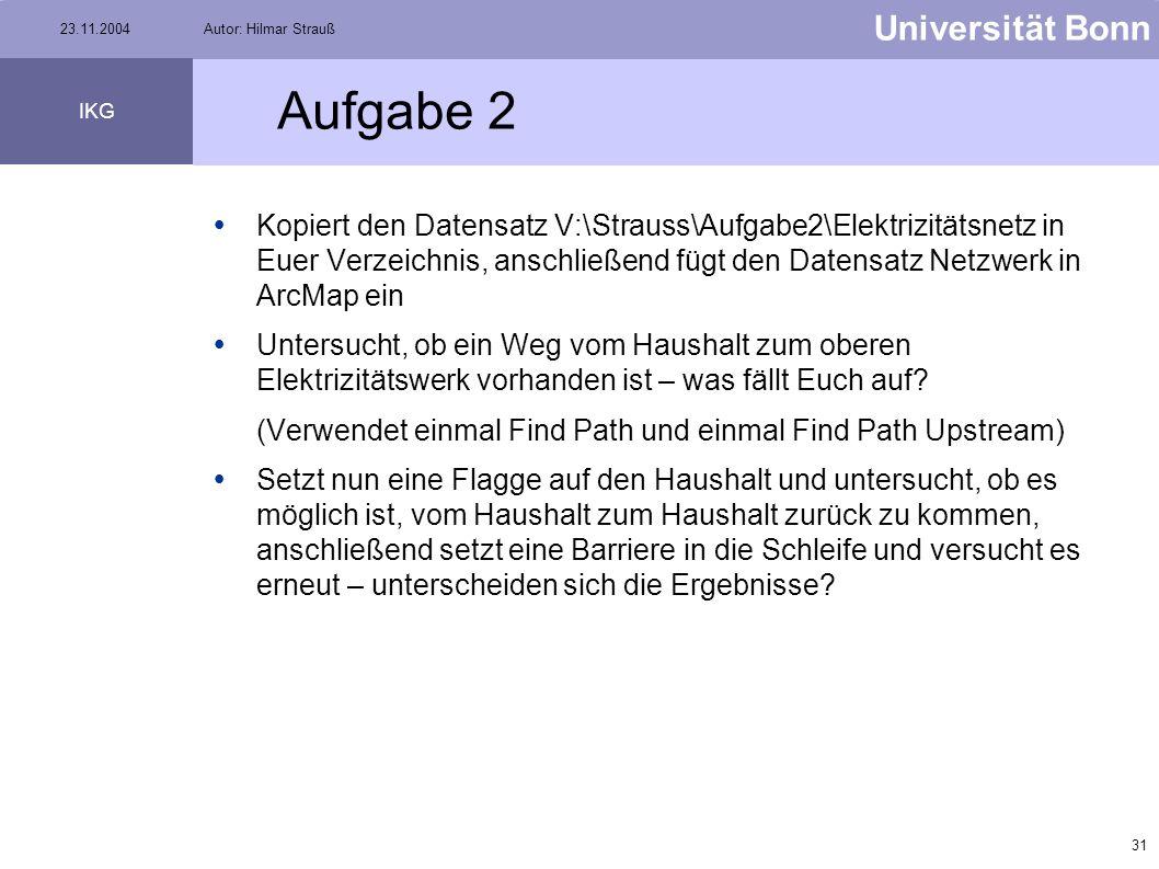 30 Universität Bonn IKG 23.11.2004Autor: Hilmar Strauß Gewichte Knoten und Kanten können mit Gewichten versehen werden Länge einer Straße Rohrdurchmes