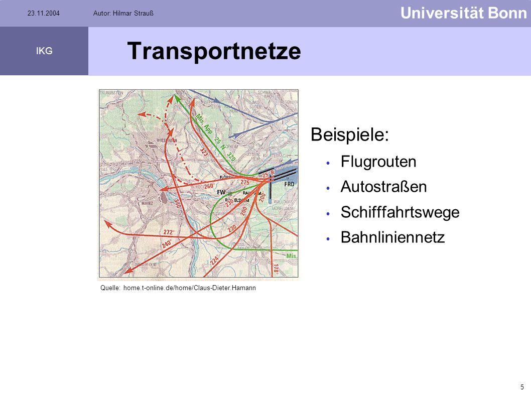 4 Universität Bonn IKG 23.11.2004Autor: Hilmar Strauß Transportnetze Objekte in Transportation Networks haben eigenen Willen. Objekte können Flußricht