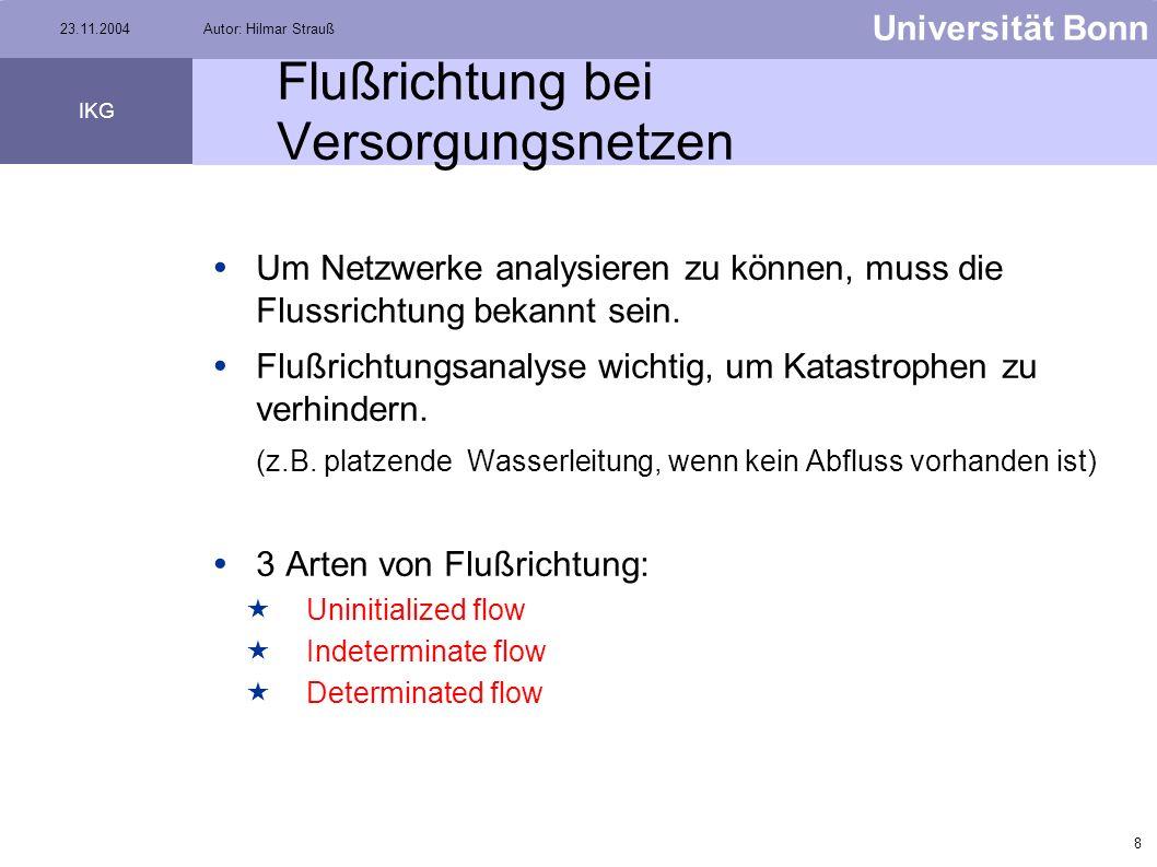 7 Universität Bonn IKG 23.11.2004Autor: Hilmar Strauß Versorgungsnetze Beispiele: Wasserleitungen Elektrizitätsnetze Ölpipelines Quelle: www.arisi.it