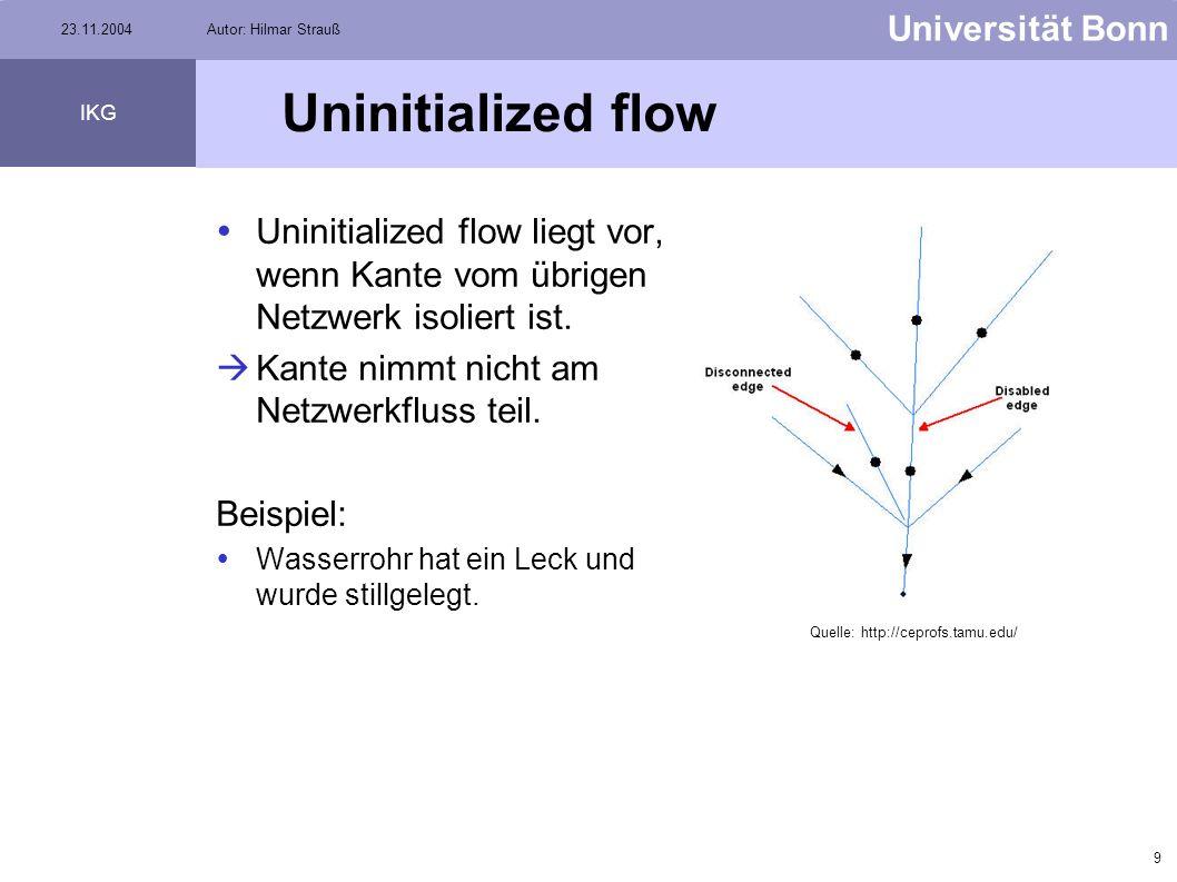 8 Universität Bonn IKG 23.11.2004Autor: Hilmar Strauß Flußrichtung bei Versorgungsnetzen Um Netzwerke analysieren zu können, muss die Flussrichtung be