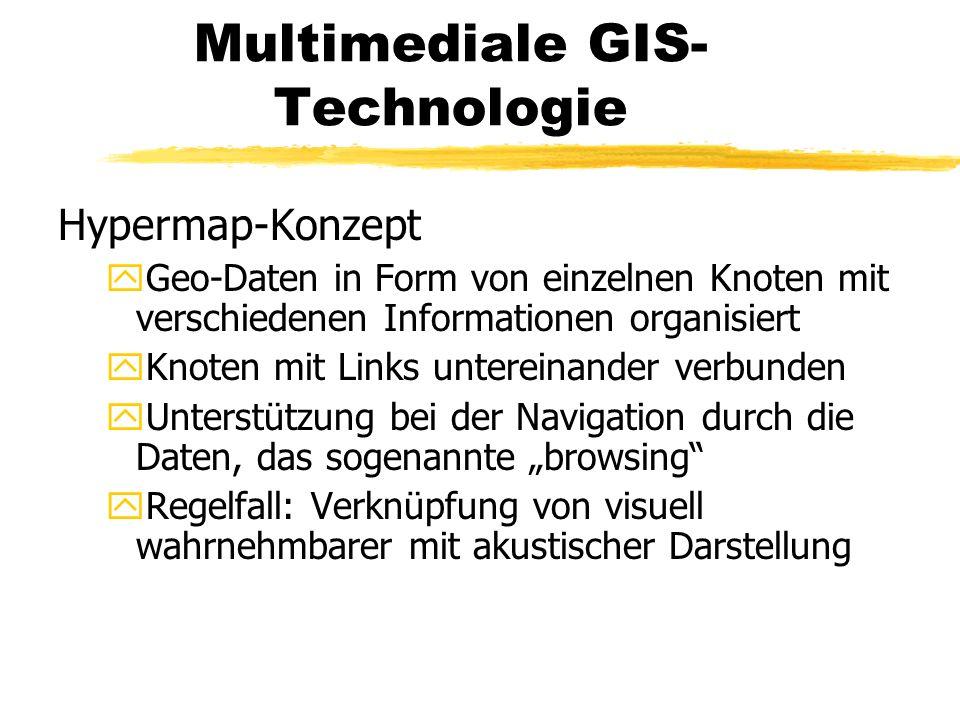 Multimediale GIS- Technologie Hypermap-Konzept yGeo-Daten in Form von einzelnen Knoten mit verschiedenen Informationen organisiert yKnoten mit Links u