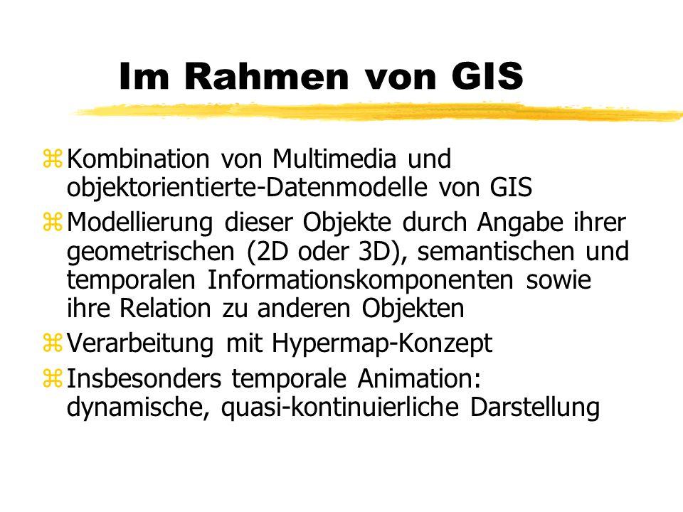Im Rahmen von GIS zKombination von Multimedia und objektorientierte-Datenmodelle von GIS zModellierung dieser Objekte durch Angabe ihrer geometrischen