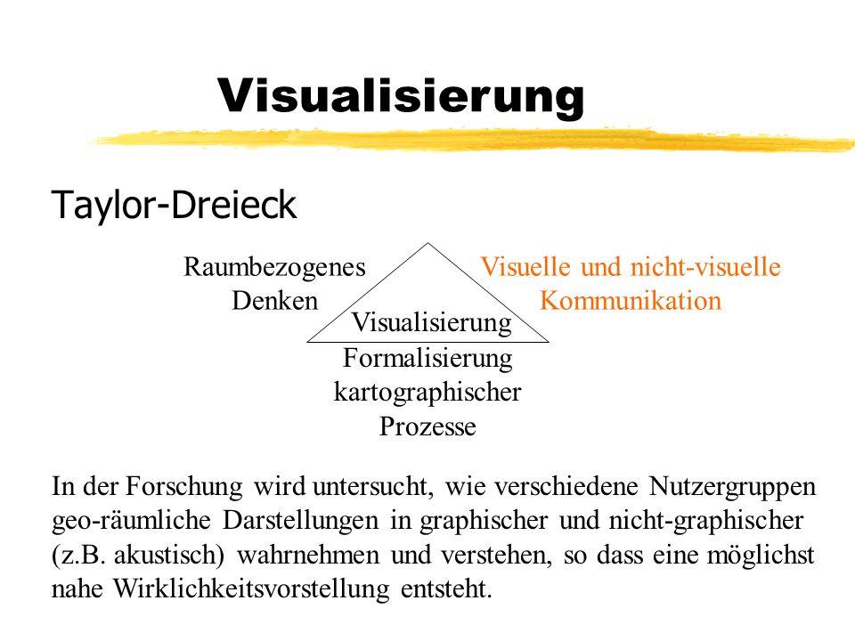 Taylor-Dreieck Visualisierung Raumbezogenes Denken Visuelle und nicht-visuelle Kommunikation Formalisierung kartographischer Prozesse In der Forschung