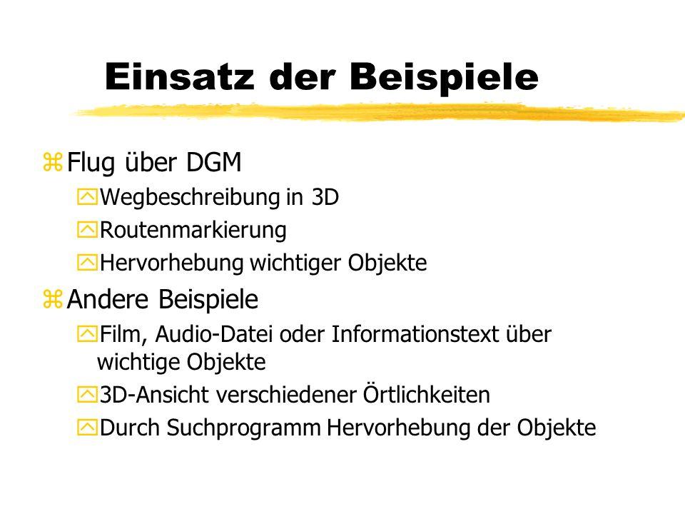 Einsatz der Beispiele zFlug über DGM yWegbeschreibung in 3D yRoutenmarkierung yHervorhebung wichtiger Objekte zAndere Beispiele yFilm, Audio-Datei ode