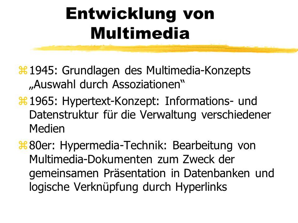 Entwicklung von Multimedia z1945: Grundlagen des Multimedia-Konzepts Auswahl durch Assoziationen z1965: Hypertext-Konzept: Informations- und Datenstru