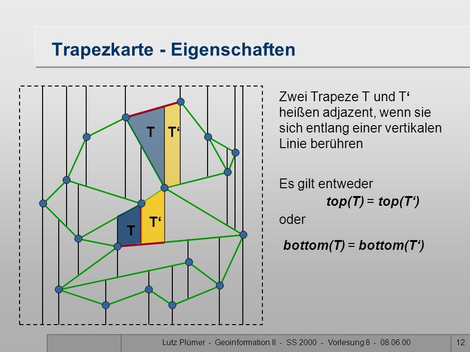 Lutz Plümer - Geoinformation II - SS 2000 - Vorlesung 8 - 08.06.0011 Trapezkarte - Eigenschaften Satz: Eine Trapezkarte einer Landkarte S mit n Kanten