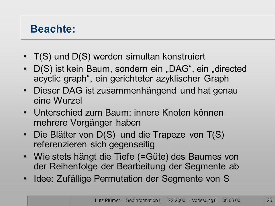 Lutz Plümer - Geoinformation II - SS 2000 - Vorlesung 8 - 08.06.0025 D E F G A B C Trapezkarte und Suchstruktur zweier Kanten p1p1 A q1q1 s1s1 B C p2p
