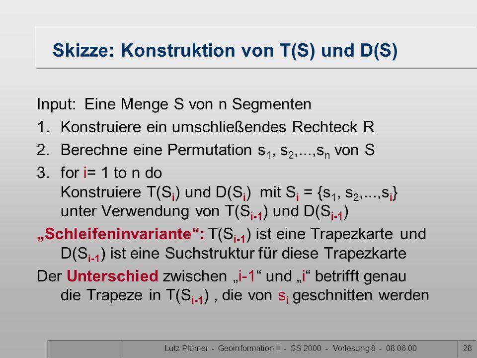 Lutz Plümer - Geoinformation II - SS 2000 - Vorlesung 8 - 08.06.0027 Datenstruktur für T(S) Möglich wäre eine doppelt verkettete Kantenliste (s. Overl