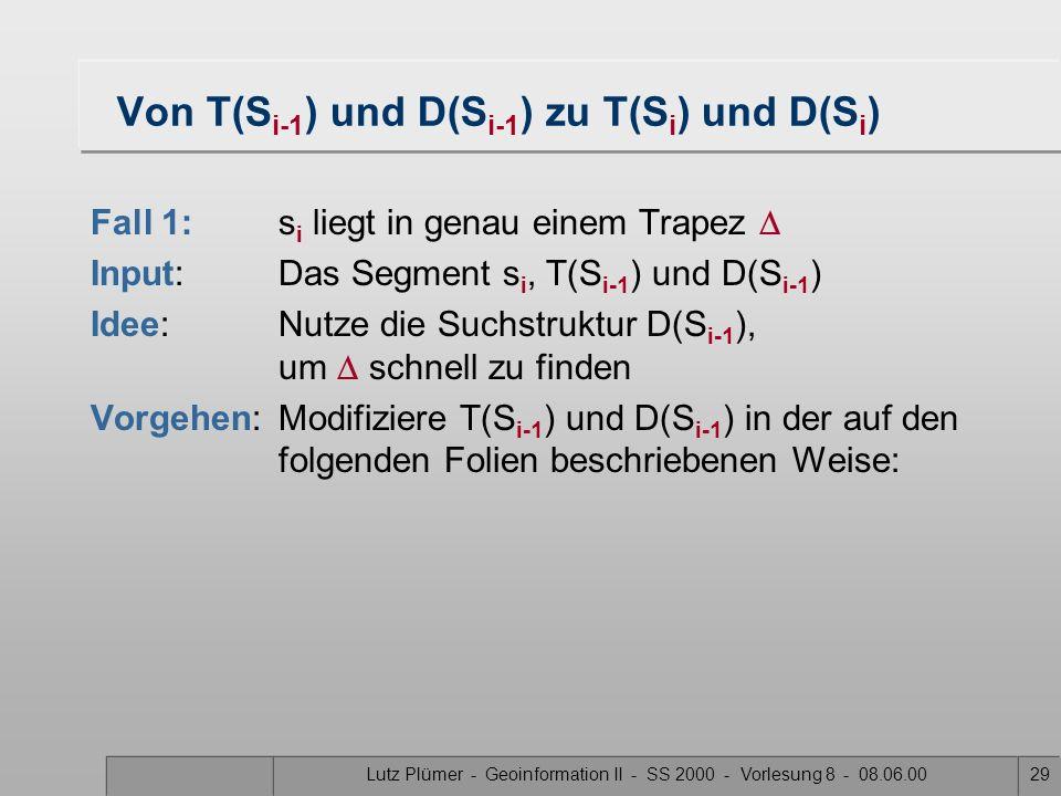 Lutz Plümer - Geoinformation II - SS 2000 - Vorlesung 8 - 08.06.0028 Skizze: Konstruktion von T(S) und D(S) Input: Eine Menge S von n Segmenten 1.Kons