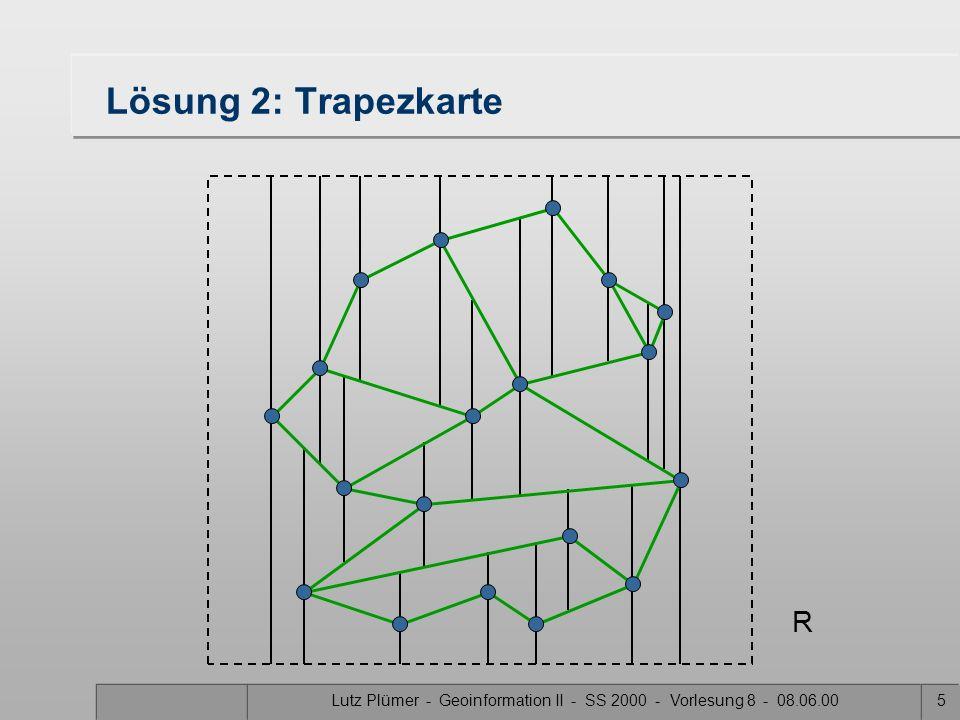 Lutz Plümer - Geoinformation II - SS 2000 - Vorlesung 8 - 08.06.004 Nachteil: O(n²) Speicherplatz im Worst Case