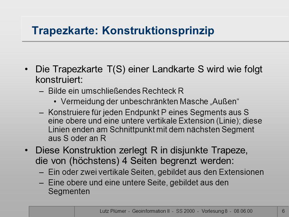 Lutz Plümer - Geoinformation II - SS 2000 - Vorlesung 8 - 08.06.005 Lösung 2: Trapezkarte R
