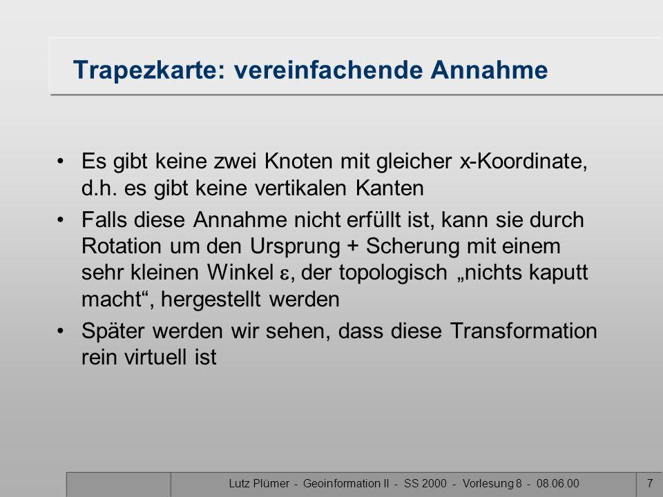 Lutz Plümer - Geoinformation II - SS 2000 - Vorlesung 8 - 08.06.006 Trapezkarte: Konstruktionsprinzip Die Trapezkarte T(S) einer Landkarte S wird wie
