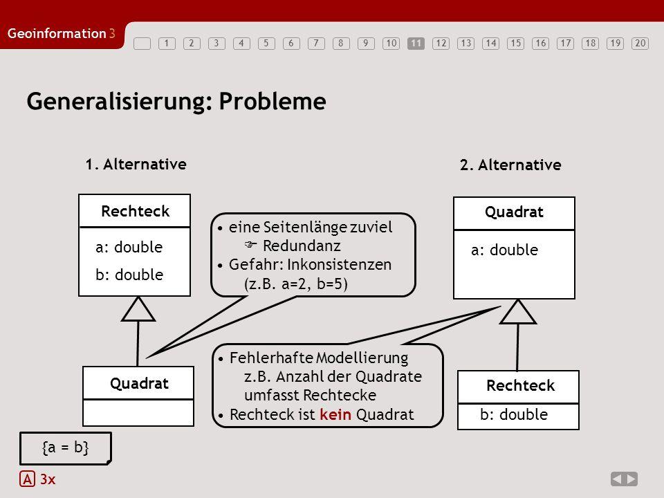1234567891011121314151617181920 Geoinformation3 11 Generalisierung: Probleme A 3x eine Seitenlänge zuviel Redundanz Gefahr: Inkonsistenzen (z.B. a=2,