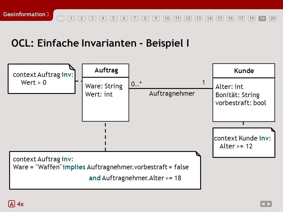 1234567891011121314151617181920 Geoinformation3 19 OCL: Einfache Invarianten - Beispiel I A 4x context Auftrag inv: Wert > 0 context Kunde inv: Alter