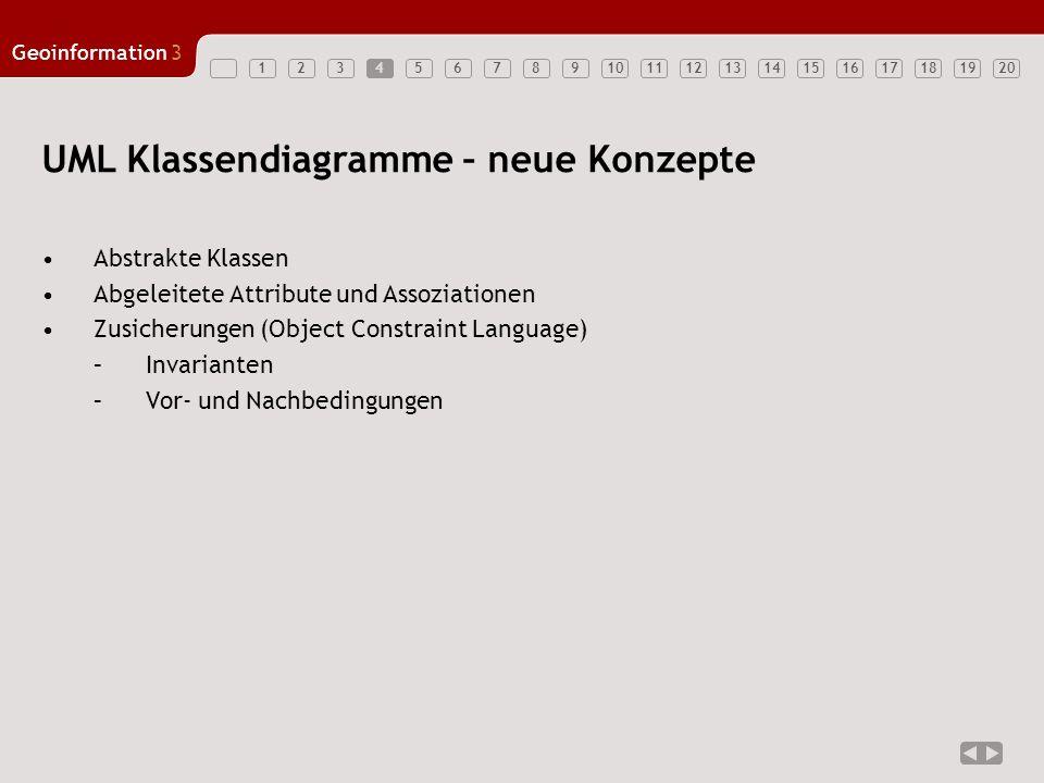 1234567891011121314151617181920 Geoinformation3 5 UML - Klassendiagramm (Wh.) A 6x Liste + FügeEin(Objekt) + Lösche(Objekt) + Suche(Objekt): boolean + Länge():integer +.......