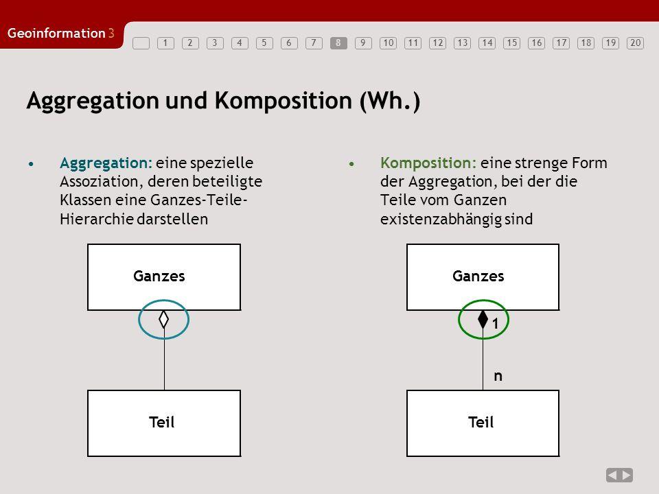 1234567891011121314151617181920 Geoinformation3 8 Aggregation und Komposition (Wh.) Ganzes Teil Ganzes Teil n 1 Aggregation: eine spezielle Assoziatio