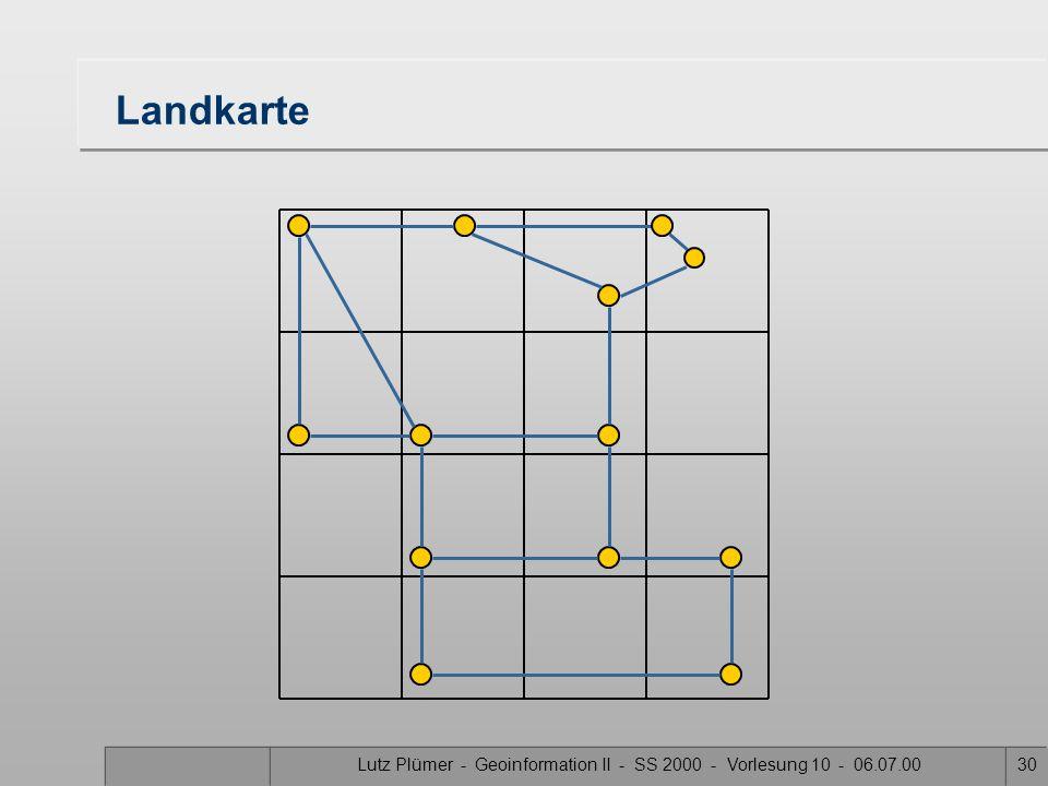 Lutz Plümer - Geoinformation II - SS 2000 - Vorlesung 10 - 06.07.0029 Point quadtree - Aufbau 1 1 2 23 4 5 3 45