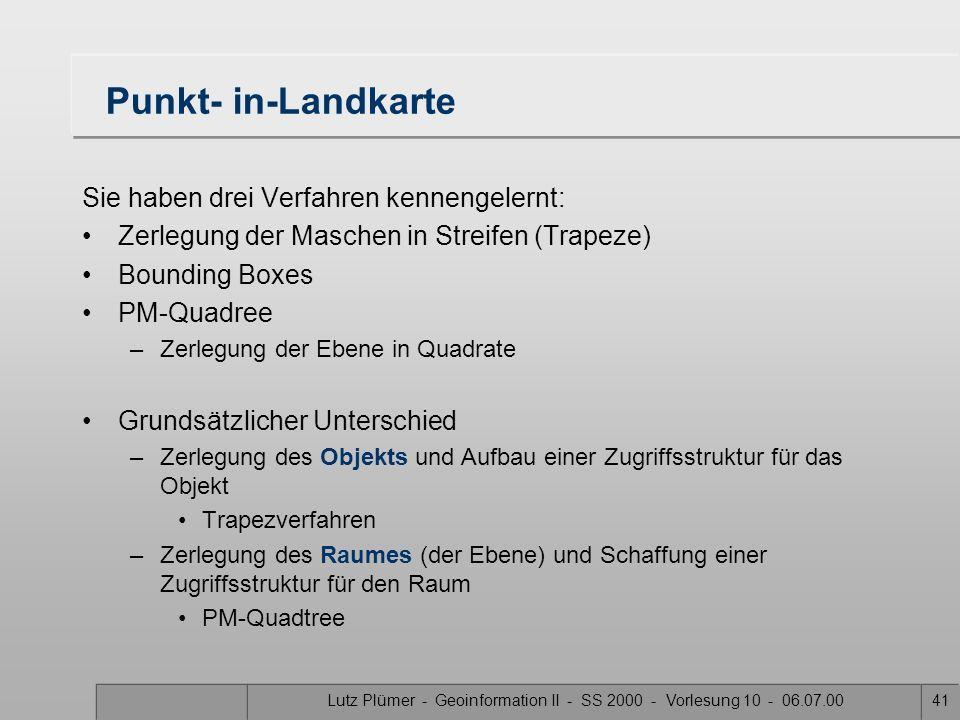 Lutz Plümer - Geoinformation II - SS 2000 - Vorlesung 10 - 06.07.0040 PM 1 quadtree 1.Jedes Blatt des Quadtrees repräsentiert ein Quadrat, das höchste