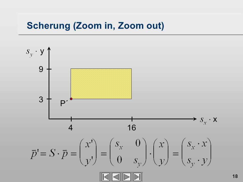 18 3 9 416 P´ Scherung (Zoom in, Zoom out) x y